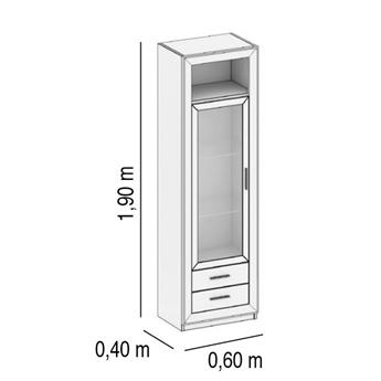 Imagen de Vitrina 1 Puerta y 2 Cajones Izquierda - BLANCO SP